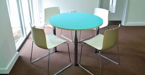 small round canteen table