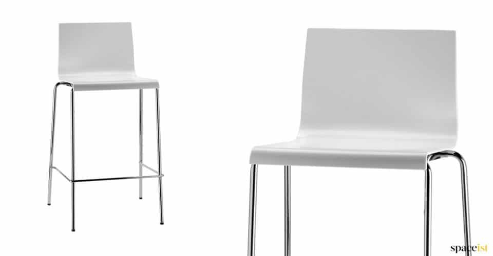 Kuadra white stacking bar stool