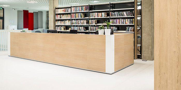 Long oak reception desk
