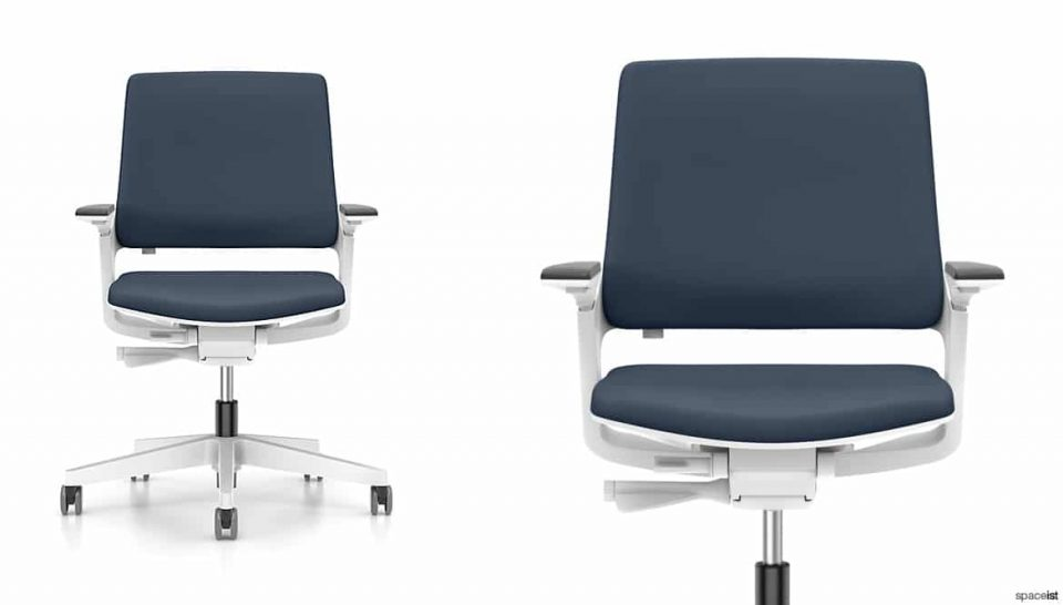 White Swivel Chair Blue Seat