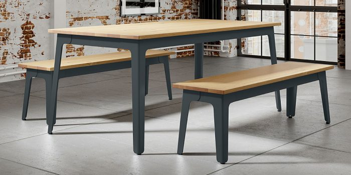 Oak Dark Grey Canteen Table & Benches