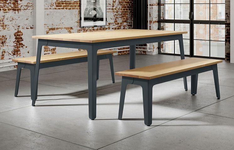 Oak Dark Grey Canteen Table & Benches