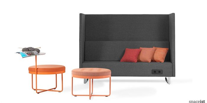 High-back office reception sofa in grey fabric