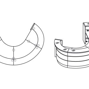Oval reception desk drawing