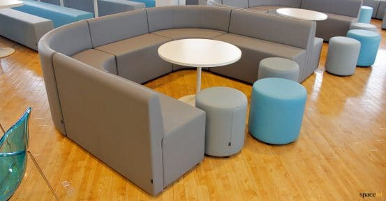 curved vinyl seating