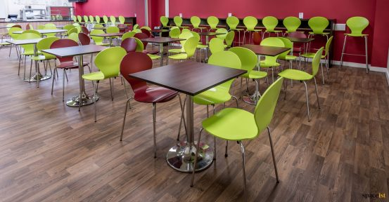 Multi-coloured canteen chairs