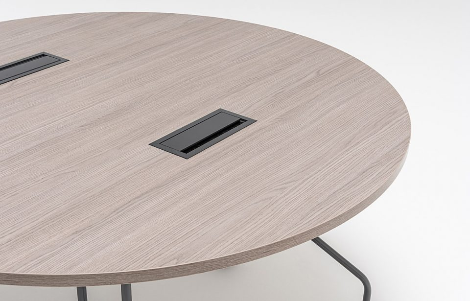 Round table top with cable access