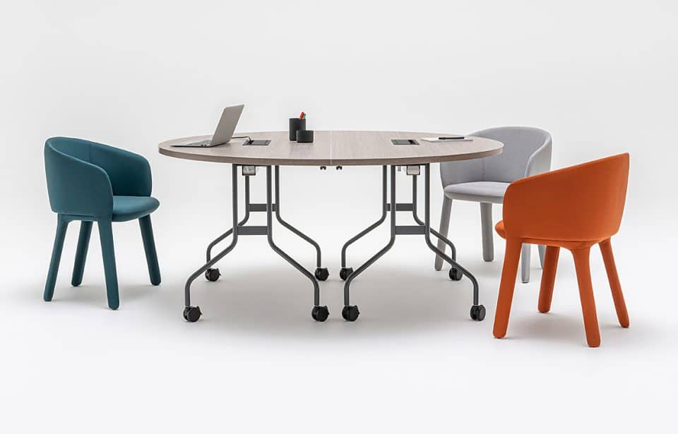 Round folding meeting table