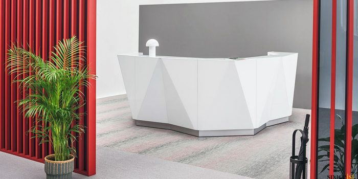 Alps white corner reception desk