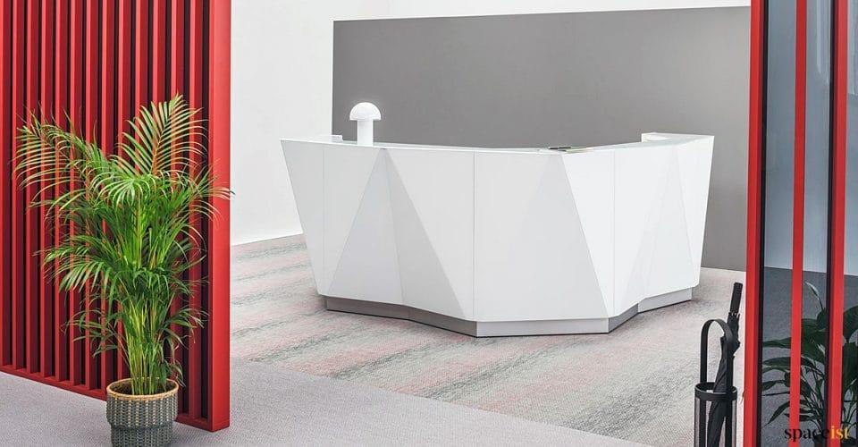 Alps white corner reception desk