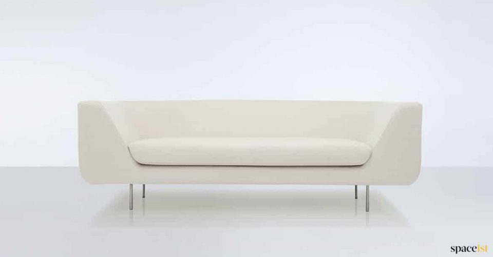 White curved arm office sofa