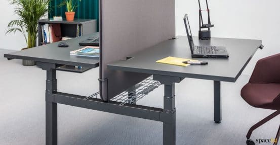 Two person sit stand desk in black
