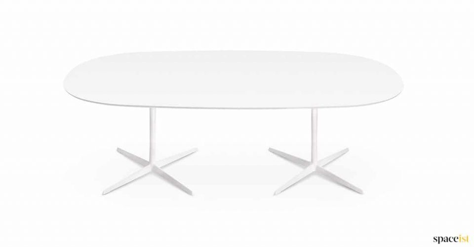 Large oval white meeting table
