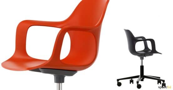 Red and black desk chair with wheels