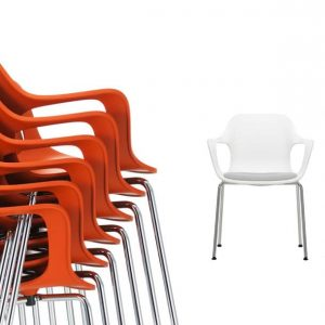 Orange stackable meeting chairs
