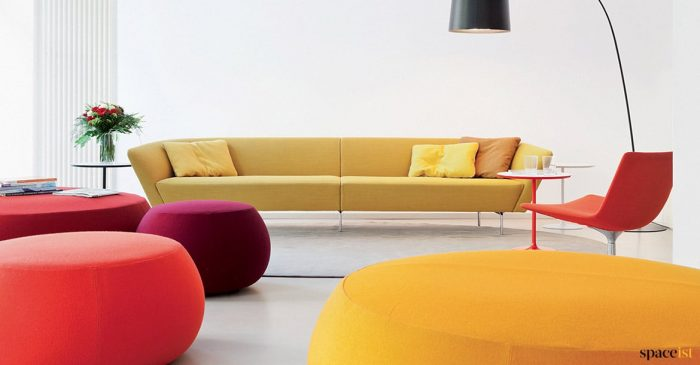 Large designer sofa in yellow
