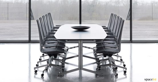 Long office table with high chairs