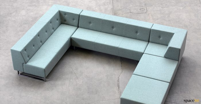 U shaped booth sofa with buttons