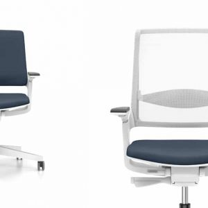 Two desk chairs one with a mesh back