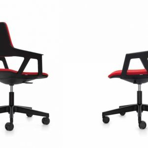 two black chairs with five star base
