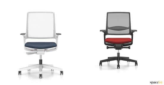Tow desk chairs with a mesh back