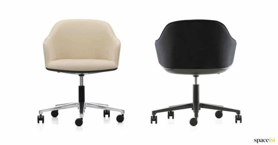 two tub desk chairs in cream and black
