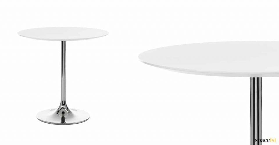Chrome table with white top