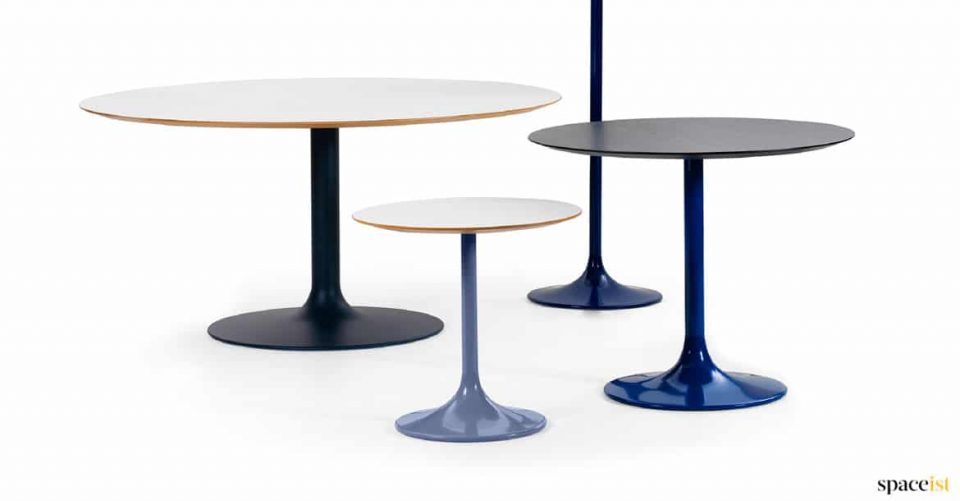 Gourp of cafe tables in blue