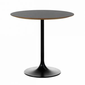 black table with wood edge