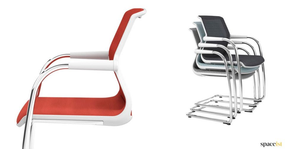 red stacking cantilever chair