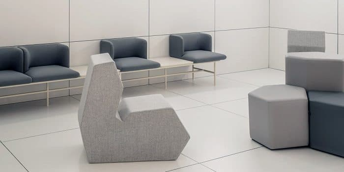 School breakout chair in grey fabric