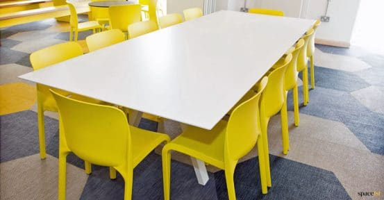 Large white study table