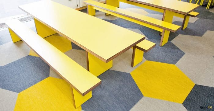 yellow canteen benches