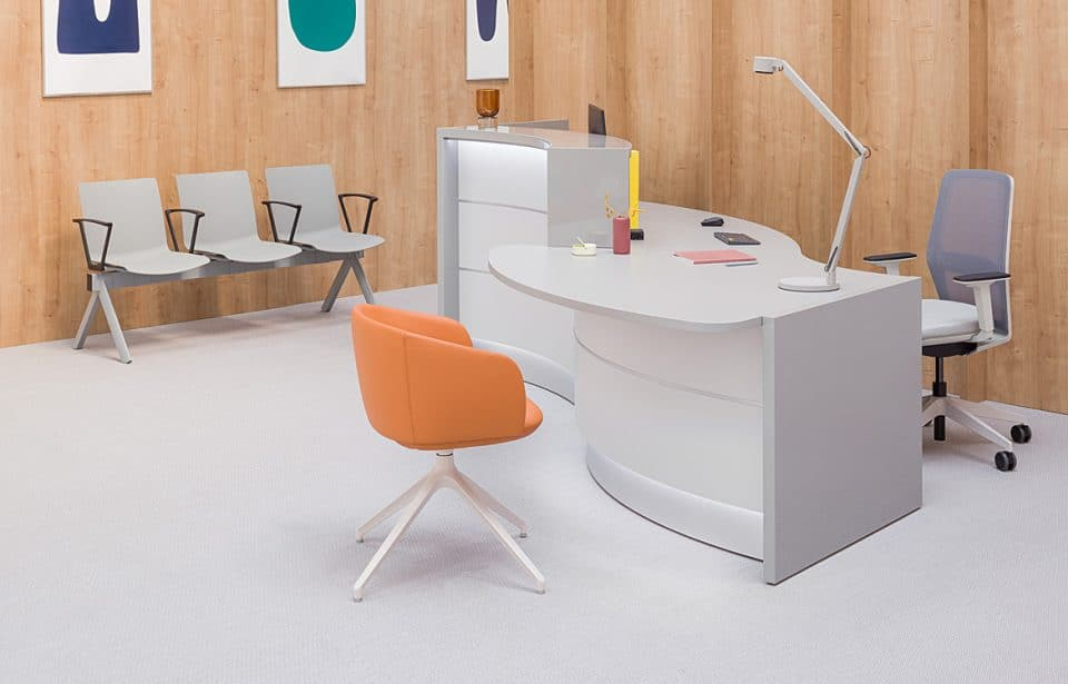 Small curved reception desk