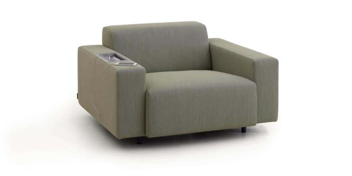 Chair with plug socket in arm