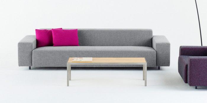 Grey office sofa pink cushions