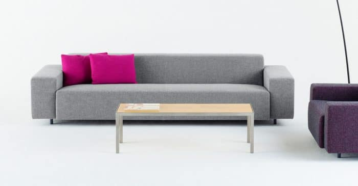 Grey office sofa pink cushions
