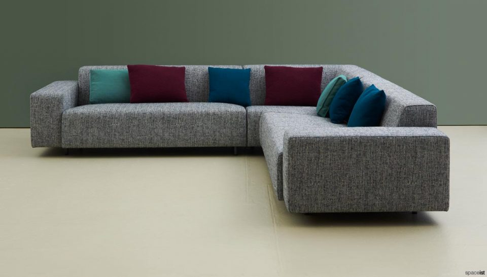 Large grey corner sofa + cushions