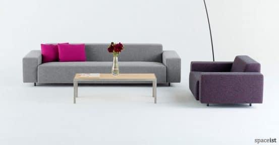 Light grey long office reception sofa purple chair