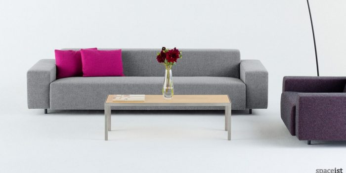 Light grey long office reception sofa