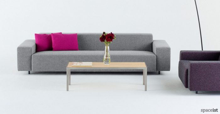 Light grey long office reception sofa