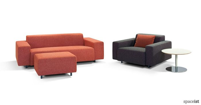 Orange small office reception sofa