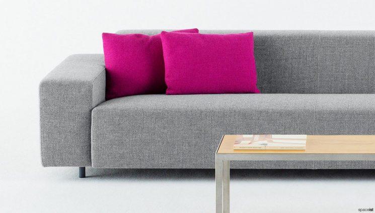 Grey sofa closeup