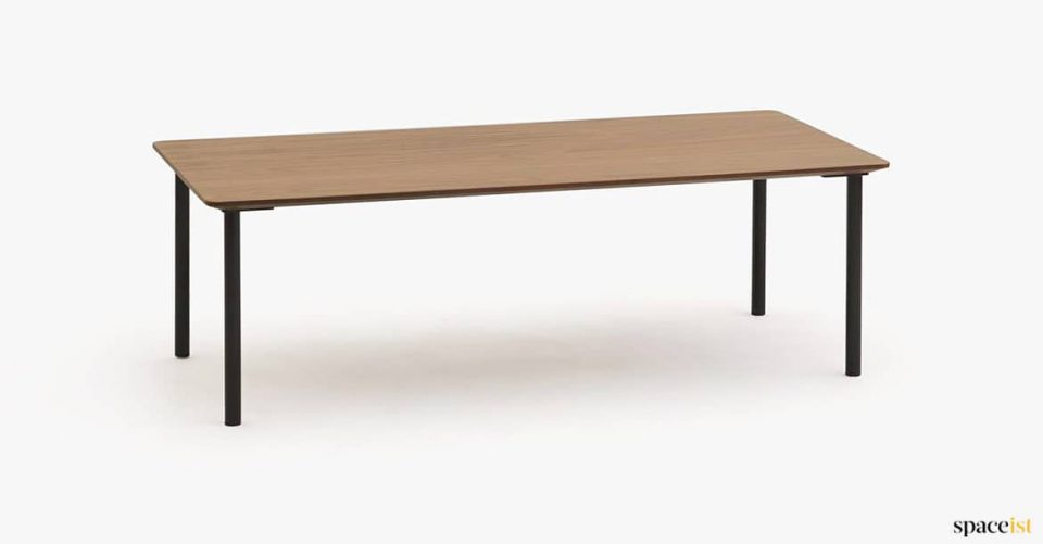 simple wood and black table