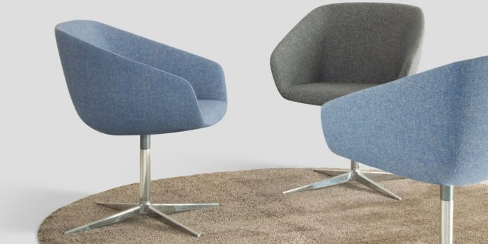 Light Blue Reception Chair with a swivel seat