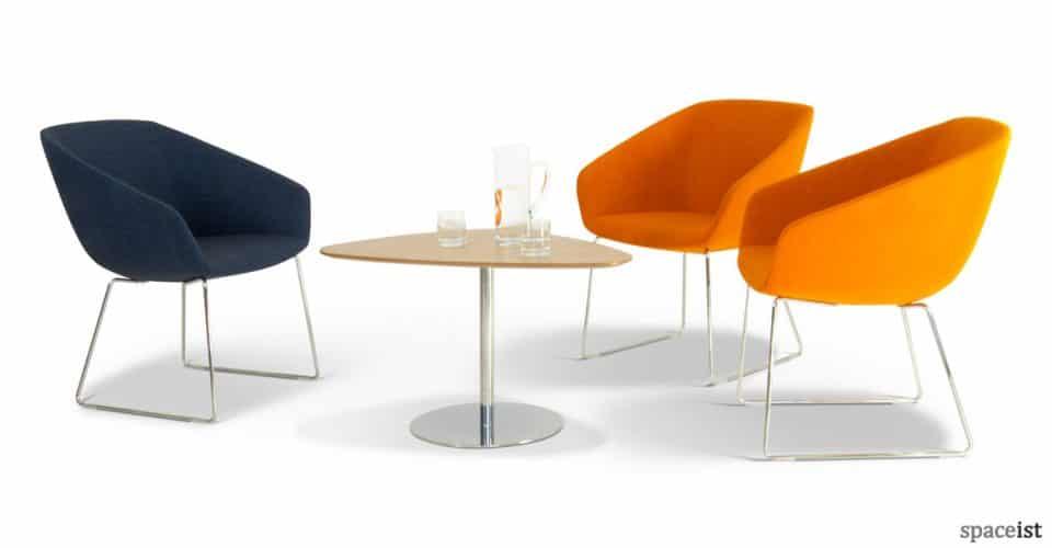 22 orange office reception chair with chrome leg