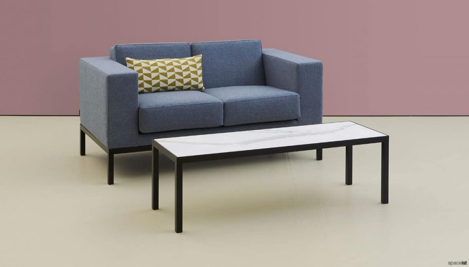 Two seater sofa marble table