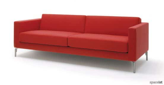 Stylish bright red office reception sofa