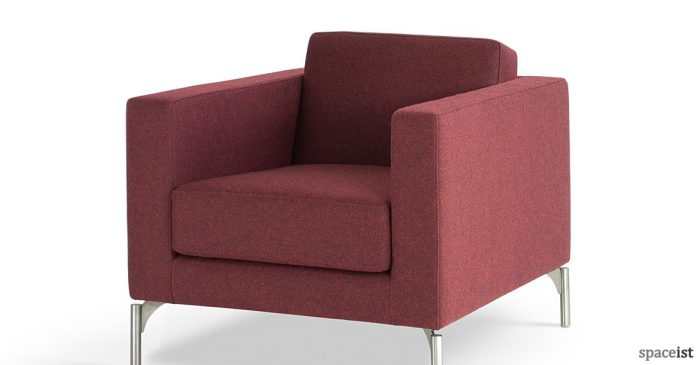 Dark red modern office reception sofa