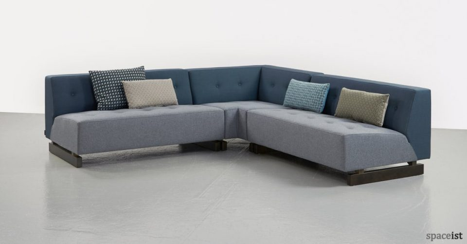 46 blue office sofa with no-arm rests